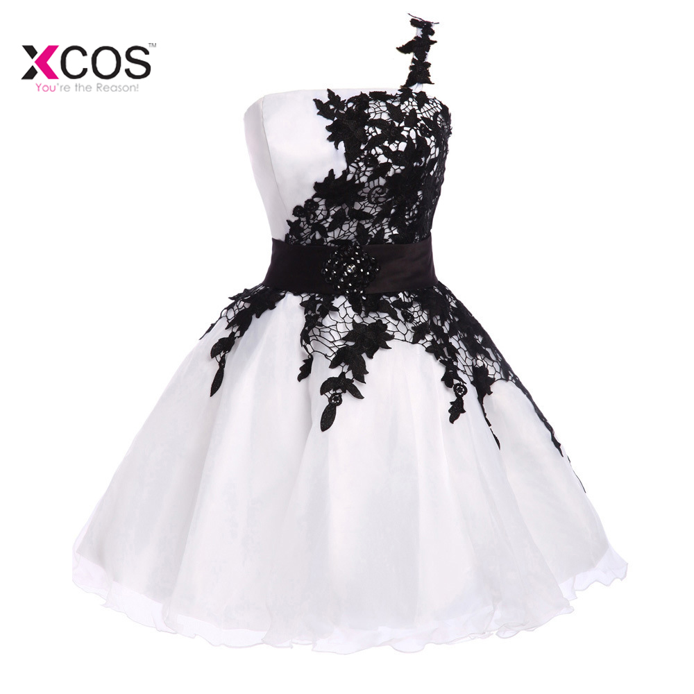 White And Black Lace Short Homecoming Dresses 2018 Cheap One Shoulder Lace Up Back Junior 8th Grade Graduation Dress