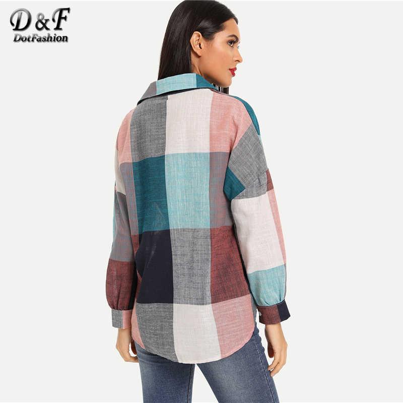 Dotfashion カラーブロックドロップショルダーシングルブレストブラウス女性 2019 カジュアルビショップスリーブトップス秋のストリート前立てシャツ