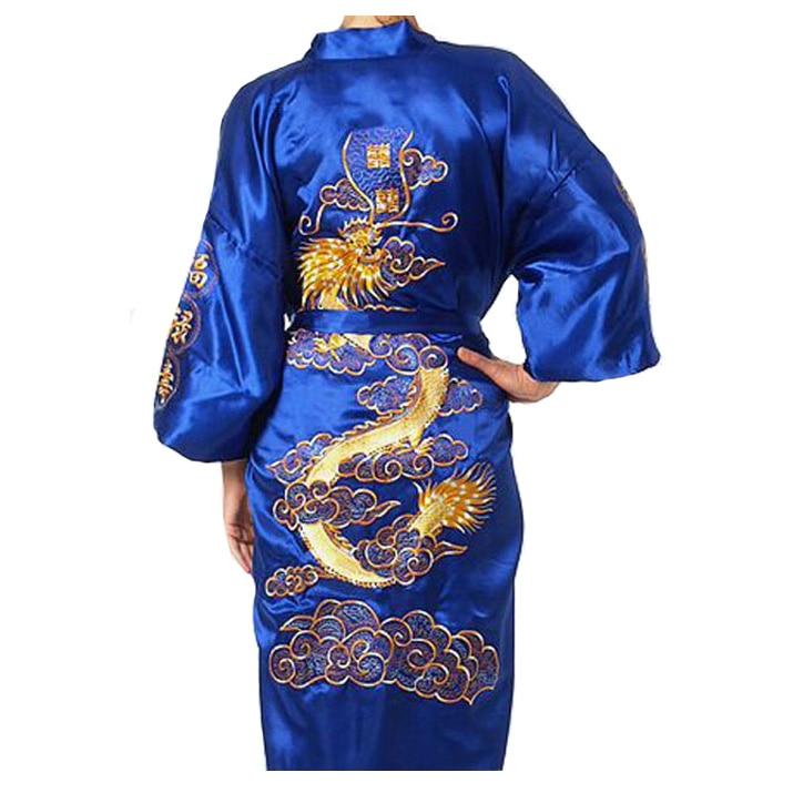 Blue Chinese Men's Silk Rayon Robe Gown Embroidery Kimono Yukata Bath Gown Nightwear Dragon Plus Size S M L XL XXL XXXL MR056
