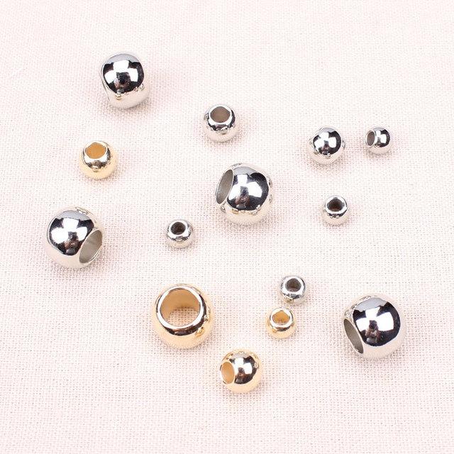 200 pçs/lote Diâmetro Exterior 4mm, 6mm, 8mm, 10mm, 12mm de Ouro/ródio CCB Plástico Grande Buraco Beads Para Fazer Jóias