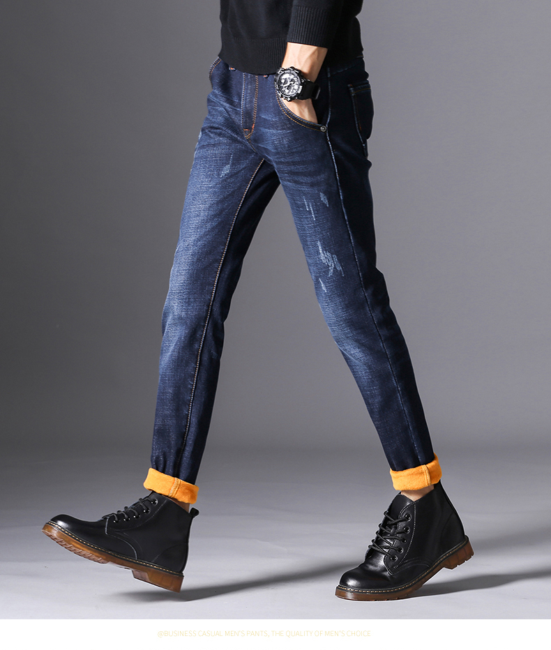 KSTUN Mens Winter Jeans Skinny Solid Blue Denim Pencil Pants Stretch Jean Men's Heat Insulated Warm