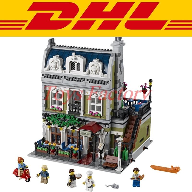 ФОТО Clone 10247 MOC DHL LELE 30007 2469 City Street Parisian Restaurant Model Building Set Kits Blocks Set Gift Toys