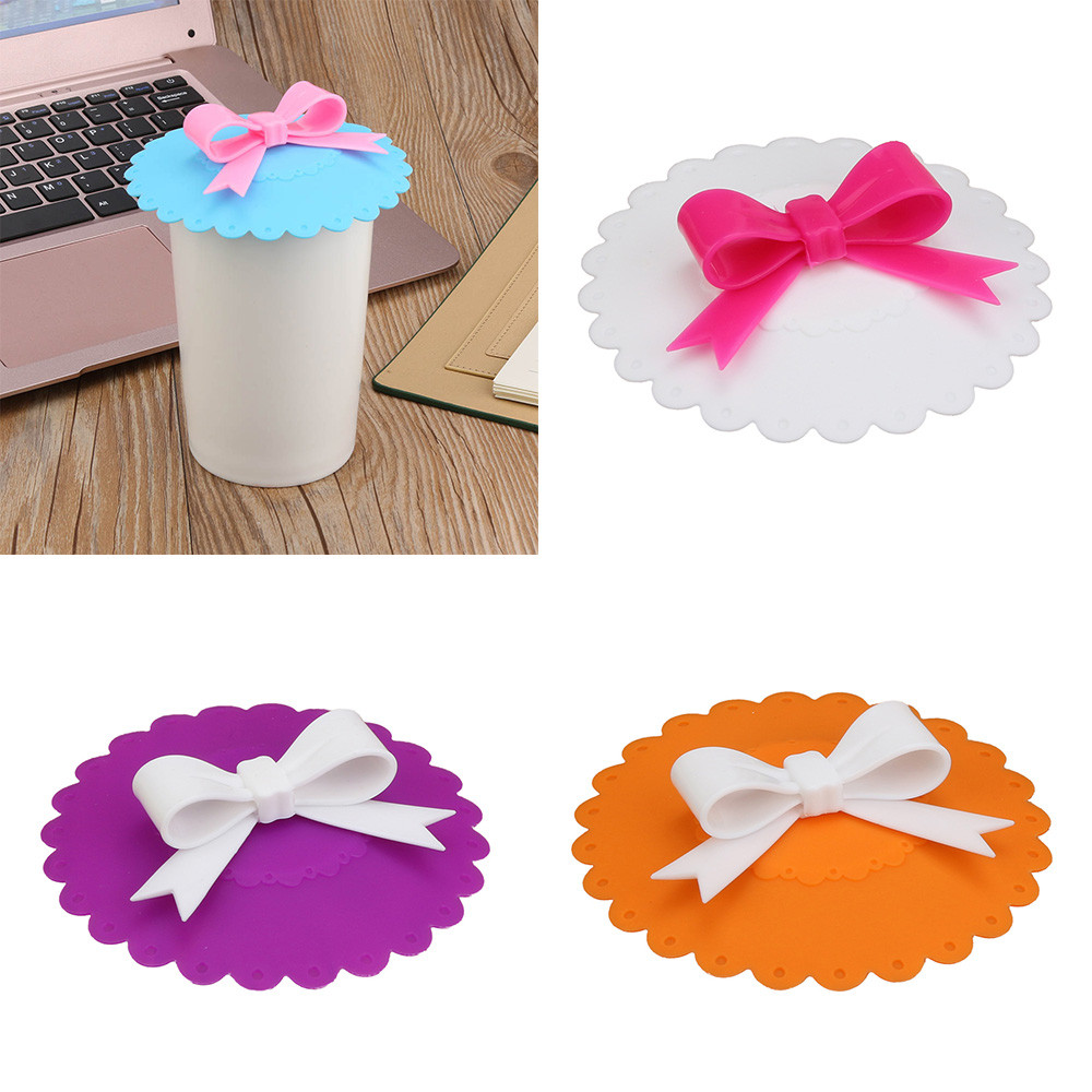 Hot Kawaii Bow Onion Lace Dust Reusable Silicone Cover Cup Thermal Insulation Cup Seal Pouch Super cute bow shape clean #20