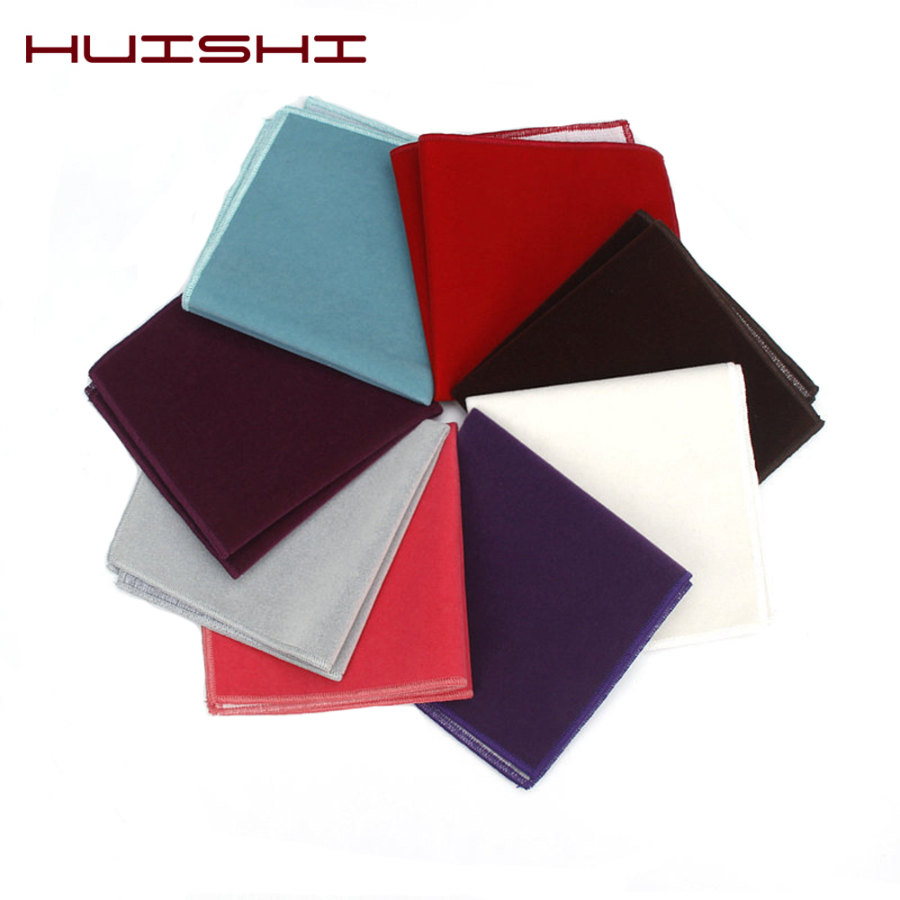 HUISHI Solid Color Gold Velvet Pocket Square Mens Black Red Blue Handkerchiefs Small Pocket Square Towel For Wedding Party Gift
