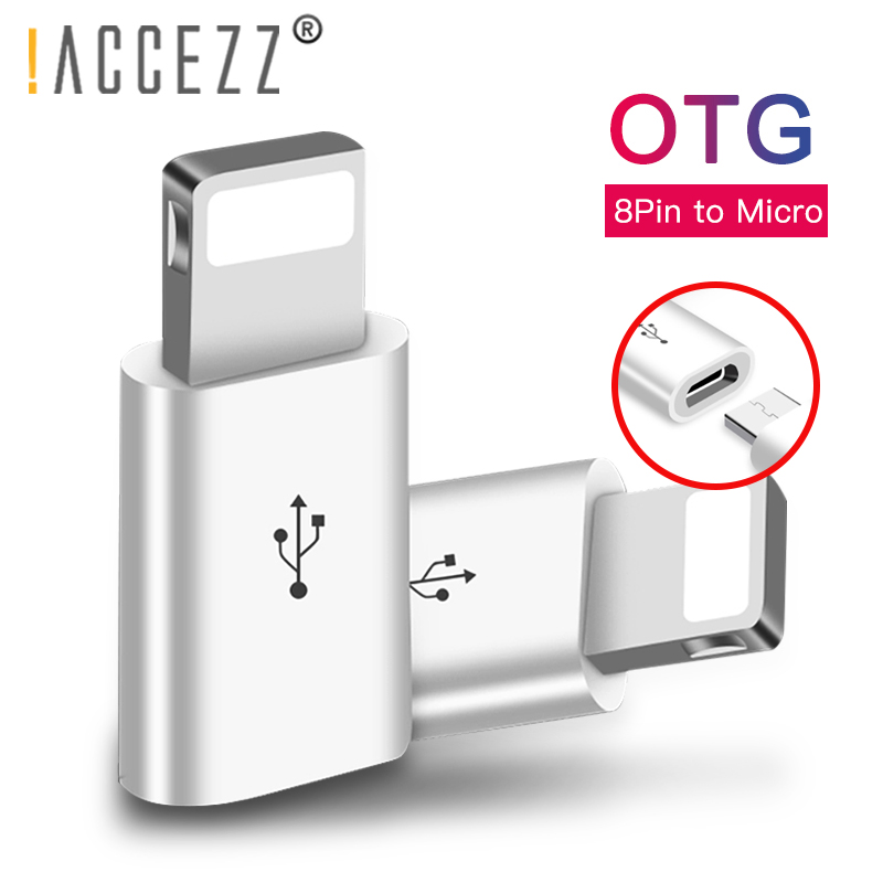 !ACCEZZ Mini OTG Lighting To Micro USB Adapter For Apple For IPhone XS MAX XR X 7 8 6S 6 Plus Data Sync Charger Cable Connector