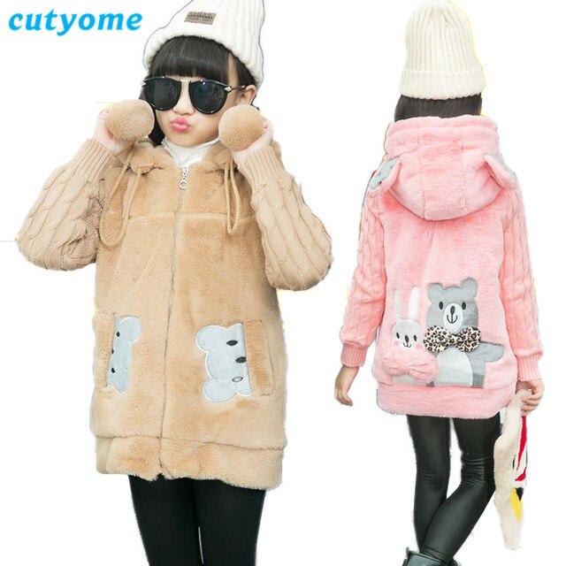 2c5b9f5923c8 Cutyome Winter Hooded Jacket for Children 2018 Long Fleece Kids Faux ...
