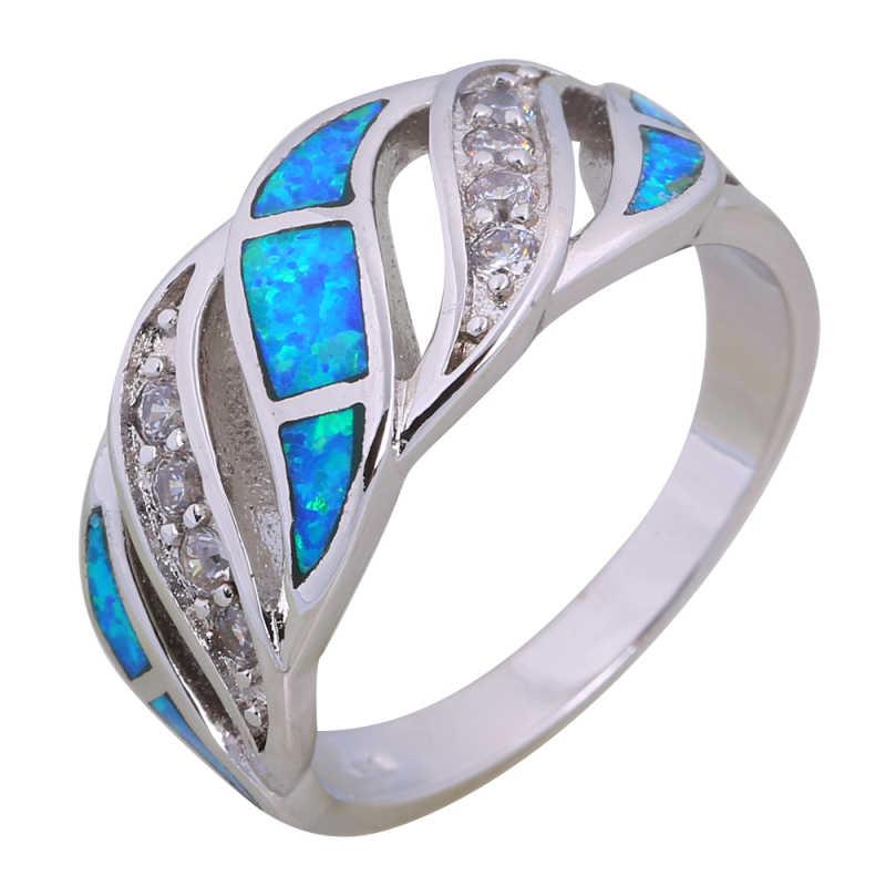 Nhẫn cưới 925 Sterling Silver Bạc Nhẫn đối với phụ nữ Màu Xanh Opal vòng bạc trang sức cho phụ nữ kích thước 6 7 8 9 10 R599