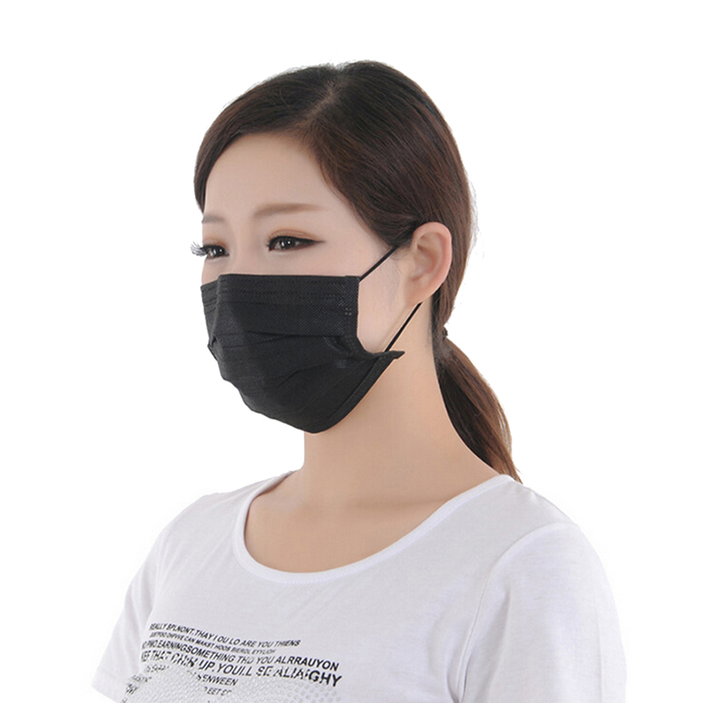 Face Mask: 10pcs/pack Disposable Non Woven Black Face Mask 4 Layer