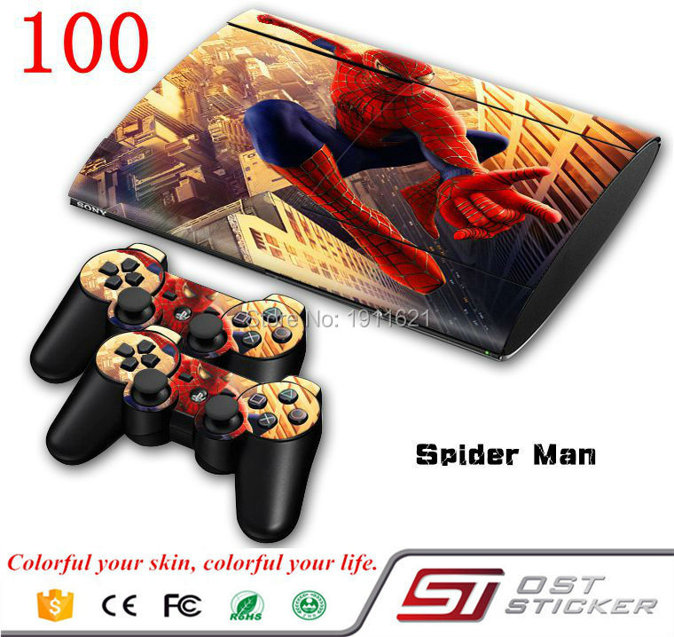 Vinyl Decal Skin Stickers for PS3 slim 4000 Console Super Slim 4000+ 2PCS Stickers for PS3 slim 4000 Controller Skin Games