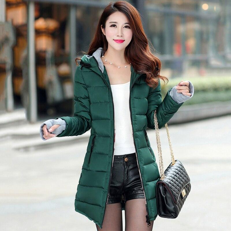 2018 women winter hooded warm coat slim plus size candy color cotton padded basic jacket female medium-long  jaqueta feminina 2