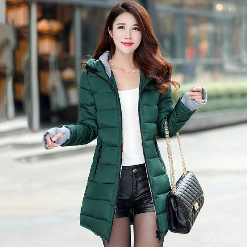 Chu feminina 女性の冬フード付き暖かいコートスリムプラスサイズキャンディーカラー綿パッド入り基本ジャケット女性の中 Health