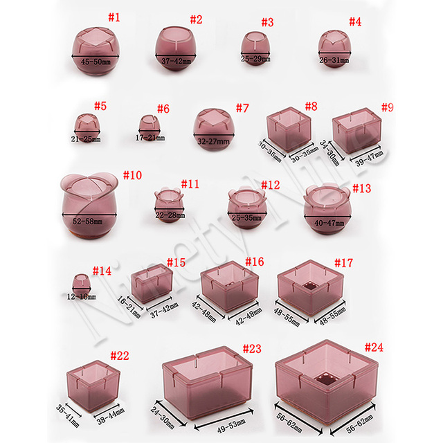 12 шт., круглые прямоугольные колпачки для ног стула, прямоугольные, из фетра, силикона, для защиты пола, мебельного покрытия для ног, темно-кр...
