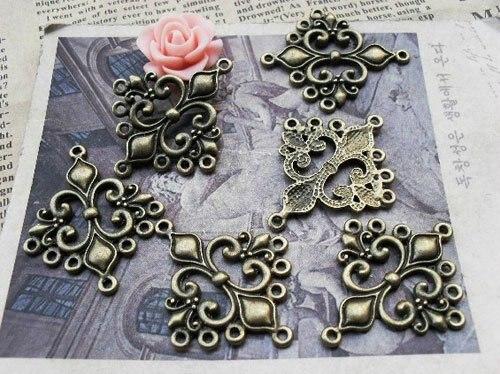 Joyería de Los Encantos Conectores Hollow Lily Moda Aleación de Bronce Antigua d
