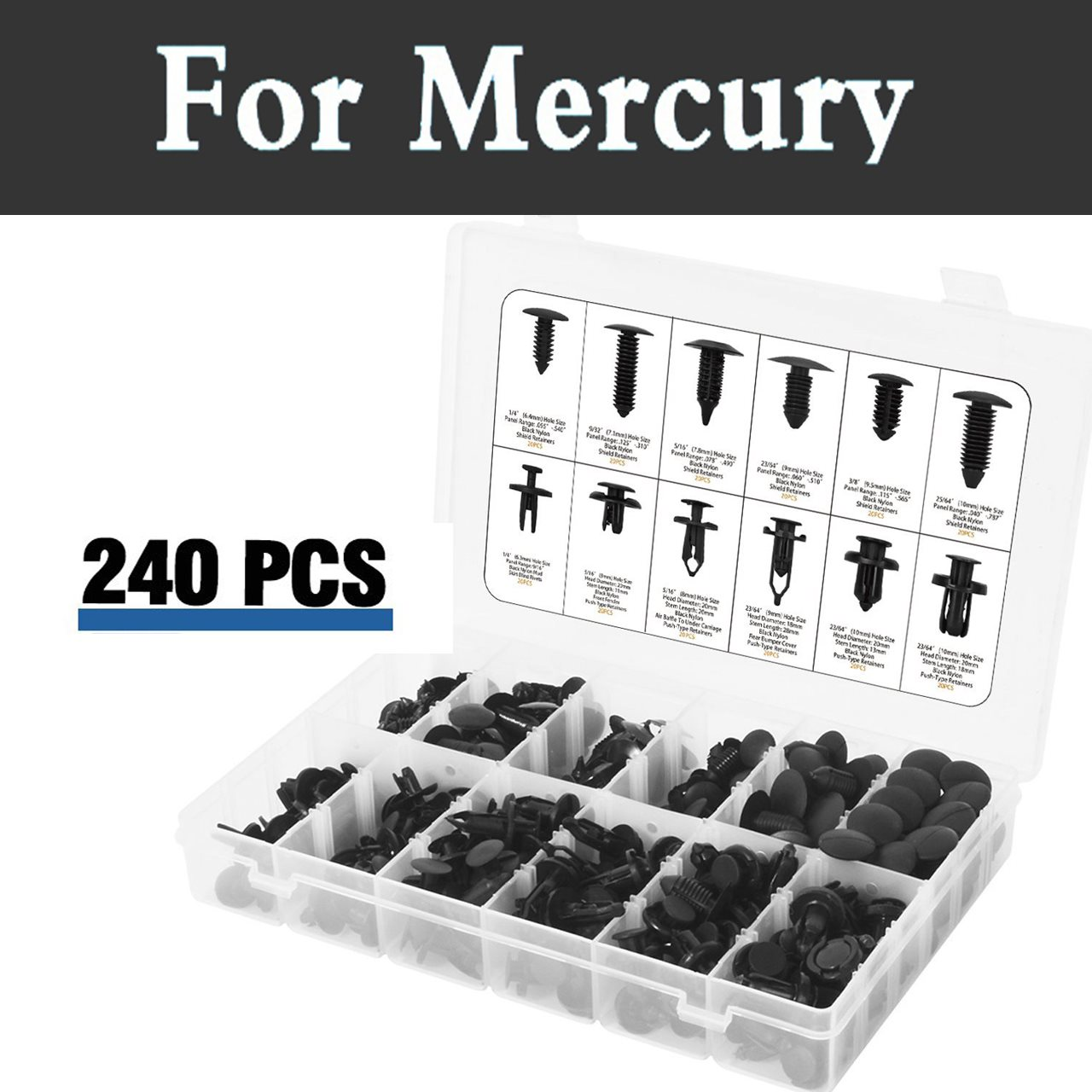 240pcs Assortment Push Pin Rivet Set Push Set In Case Fits Car Rivets For Mercury Grand Marquis Mariner Milan Montego