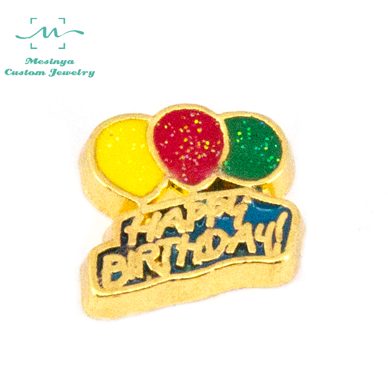 10 pcs Gold Color happy birthday floating charms for glass locket FC1412.Min amount $15 per order mixed items