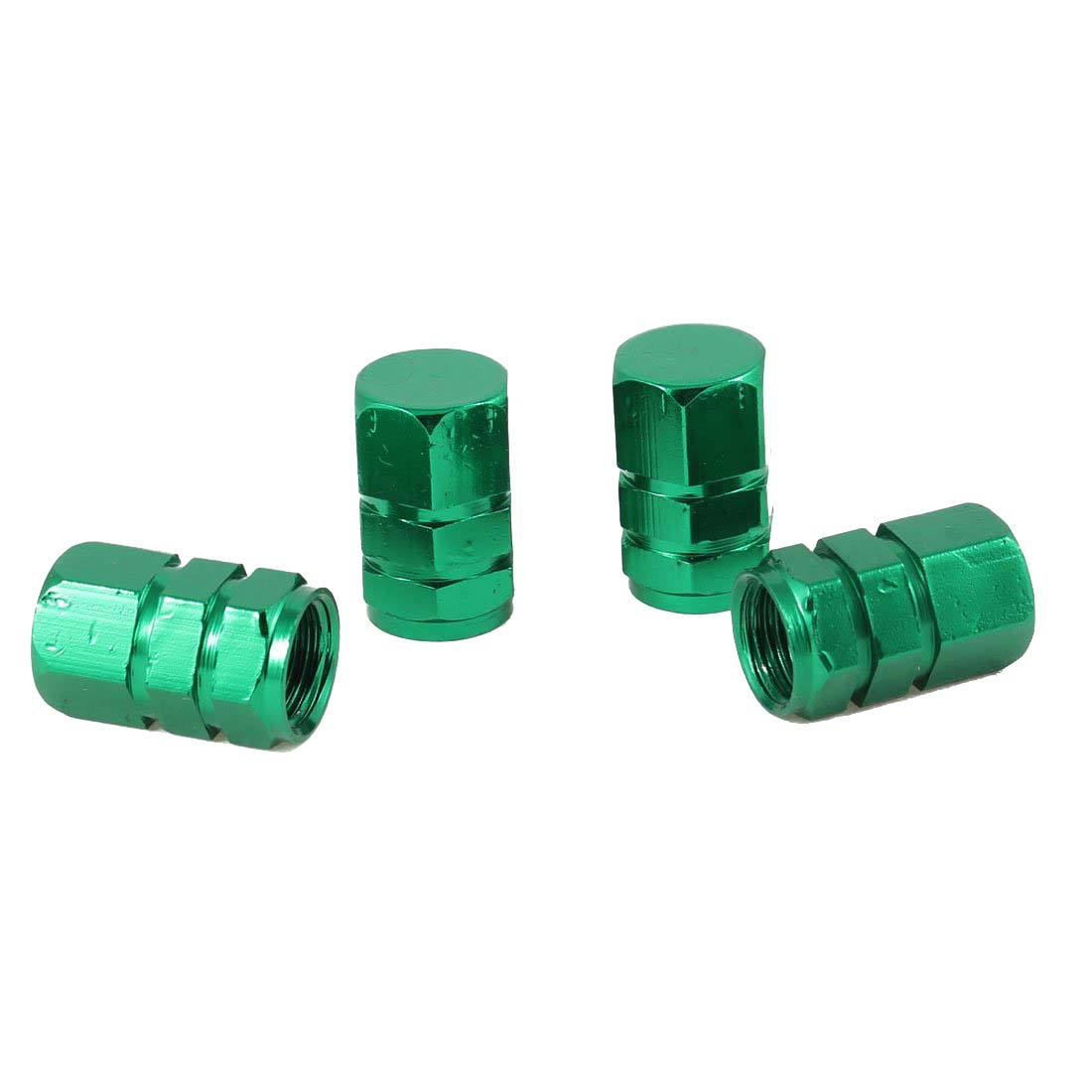 4 Pcs Car Green Alloy Hex Type Tire Wheel Stem Valve Cap 17mmx10mm