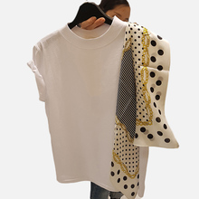 цена на Summer Polka Dot Patchwork Women T-Shirt Top Irregular Scarf Short Sleeve O-Neck Female White T Shirt Lady Top 2019 Tee Clothes