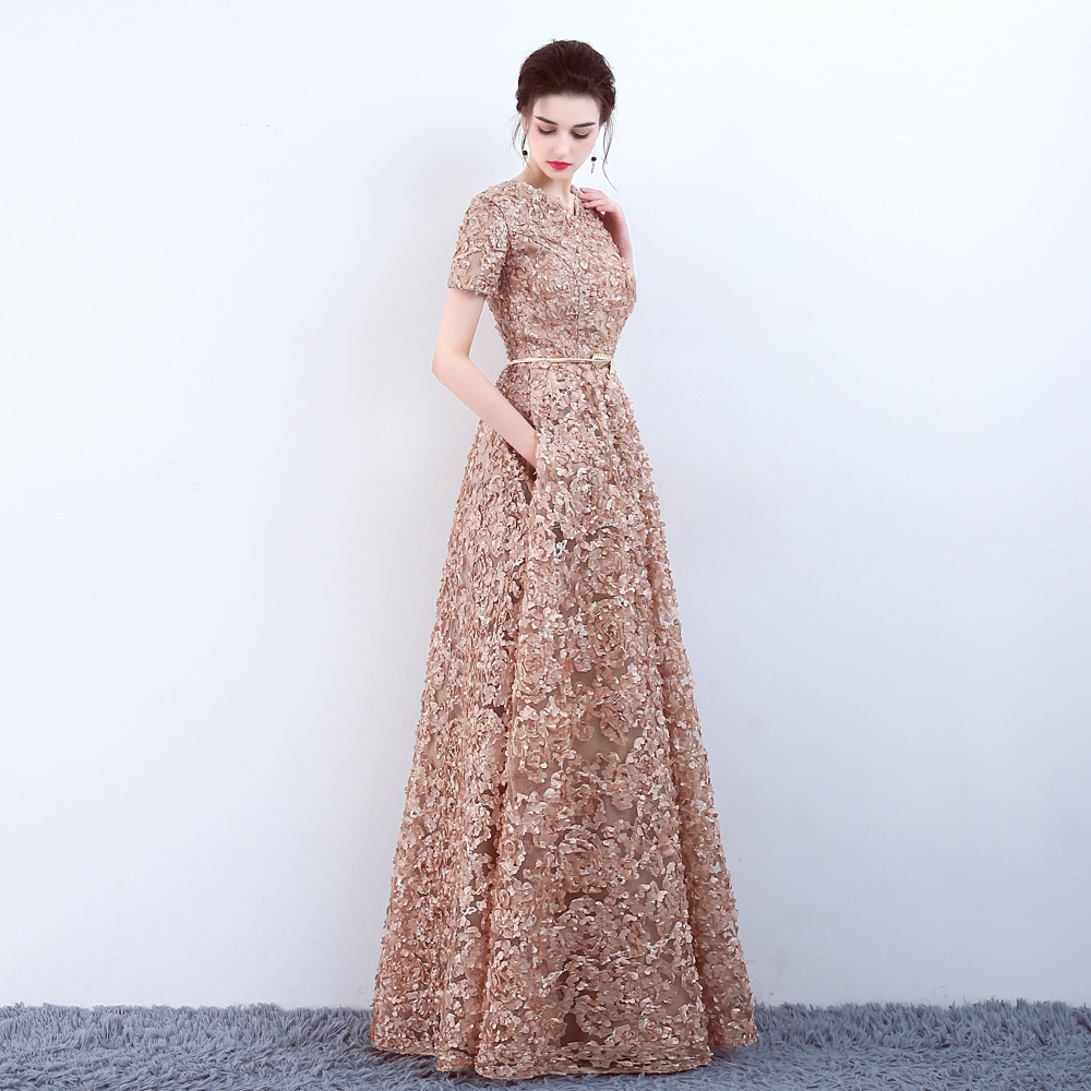 YIDINGZS With Pockets Fashion Khaki Lace Prom Dress Simple Floor-length Party Formal Evening Gown