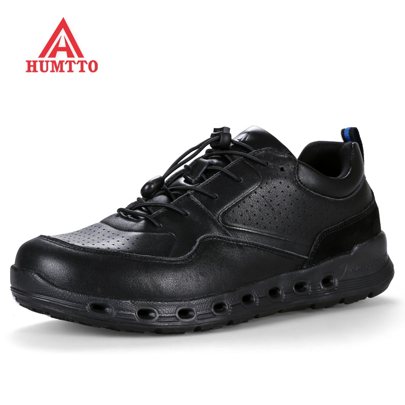 Autumn Winter Genuine Leather Running Shoes Breathable Cushioning Man Sneakers Profession Outdoor Sport Jogging Men Shoe