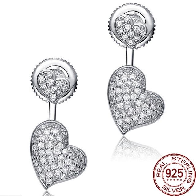 Double Heart Shape Genuine 925 Sterling Silver Stud Earring Women Best Friend Gift Fine Jewelry Solid Color Zircon Brand Design