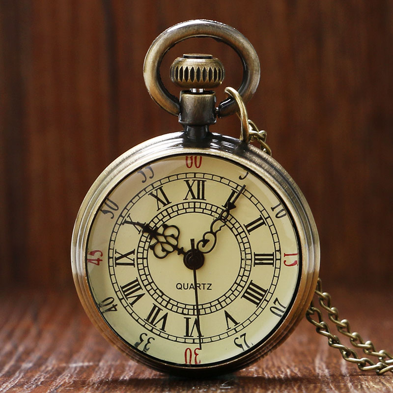 Bronze Roman Pocket Watch Antique Numerals Chain Necklace Pendant Quartz LL@17 antique fullmetal alchemist full metal case bronze pocket watch with chian necklace christmas