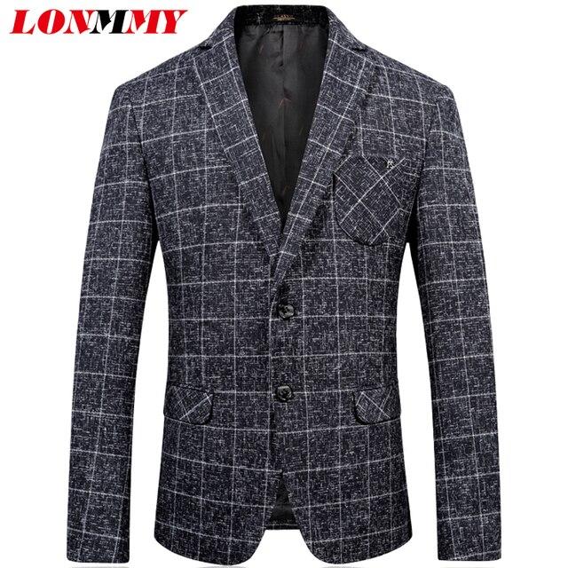 LONMMY 46-54 Woolen Plaid men blazer designs Slim fit Casual Fashion Two  single-breasted mens blazer jacket 2018 Autumn Spring 85a679e1b518