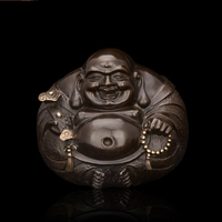 Arts Crafts Copper Good Quality Chinese Bronze Happy Buddha Statue Miniature Sculpture Small Round Laughing Buddha
