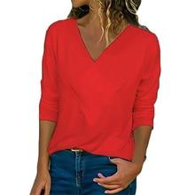 купить 2019 New T Shirt Women Slim Slimming Long Sleeve V-neck T-shirt Female Autumn Women Clothes 2019 Streetwear Plus Size Clothes по цене 511.93 рублей