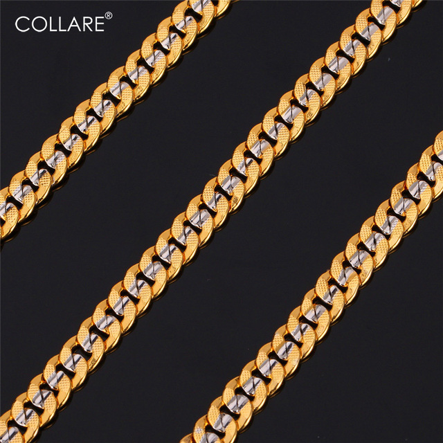 Cuban Chain Platinum: Collare Two Tone Men Cuban Link Chain Necklace With Gold