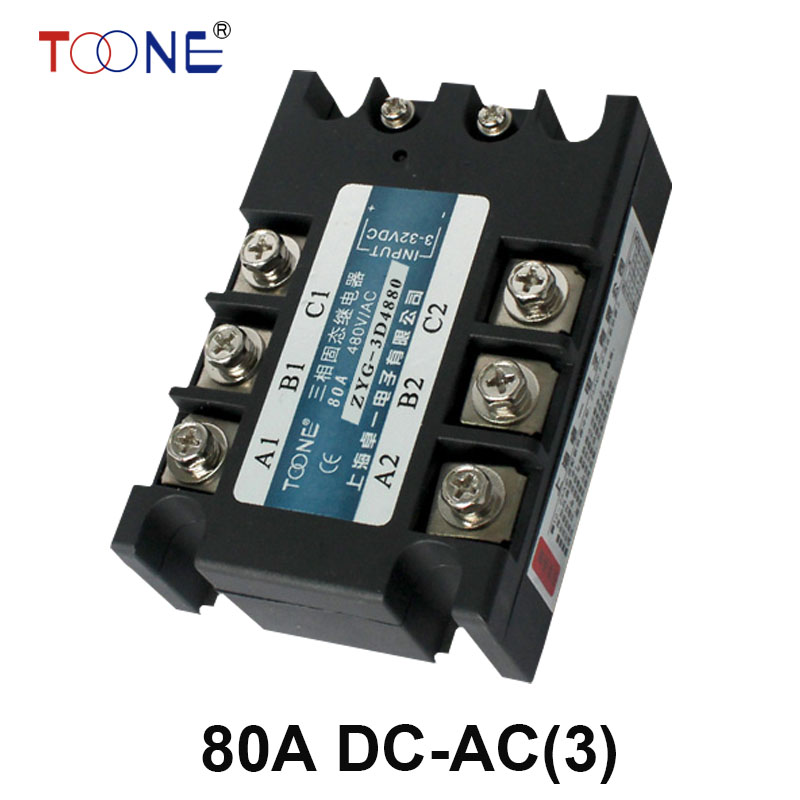 ZYG-3D4880 Free shipping 80A DC control AC SSR three phase Solid state relay normally open single phase solid state relay ssr mgr 1 d48120 120a control dc ac 24 480v