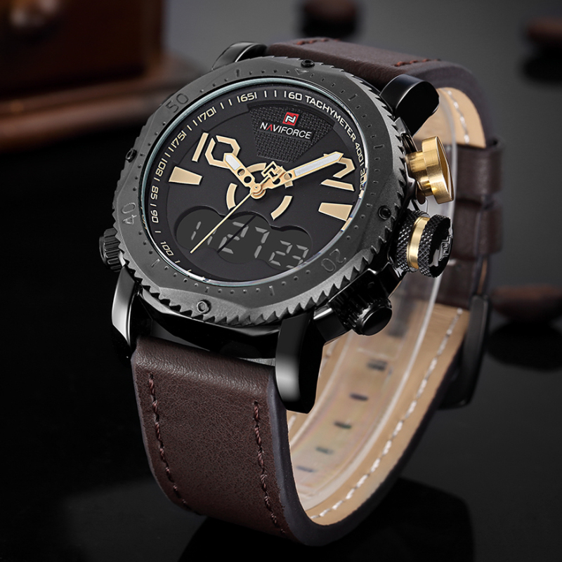 2017 New Luxury Brand Analog Led Digital Watches Men Leather Quartz Clock Men's Military Sports Wrist Watch Relogio Masculino ohsen watches brand new luxury men swimming digital led quartz watch outdoor sports watches military waterproof man clock rubber