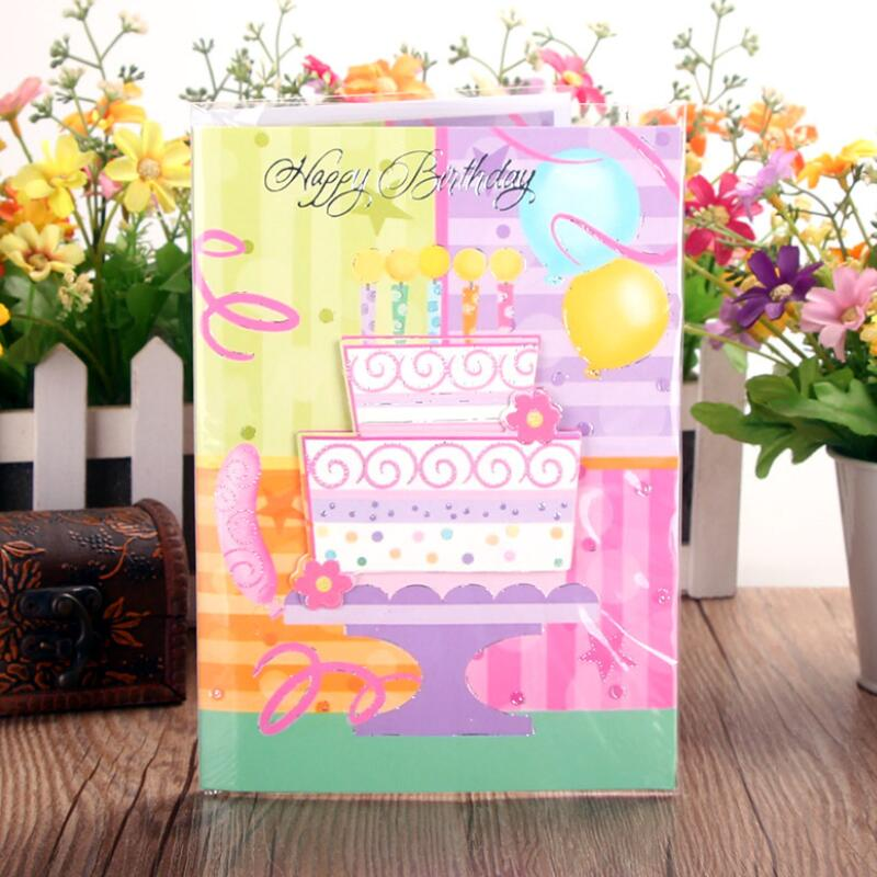 5pcs Lot Birthday Cake Music Greeting Card Kids Special Today Wish Tri Fold Gift Message