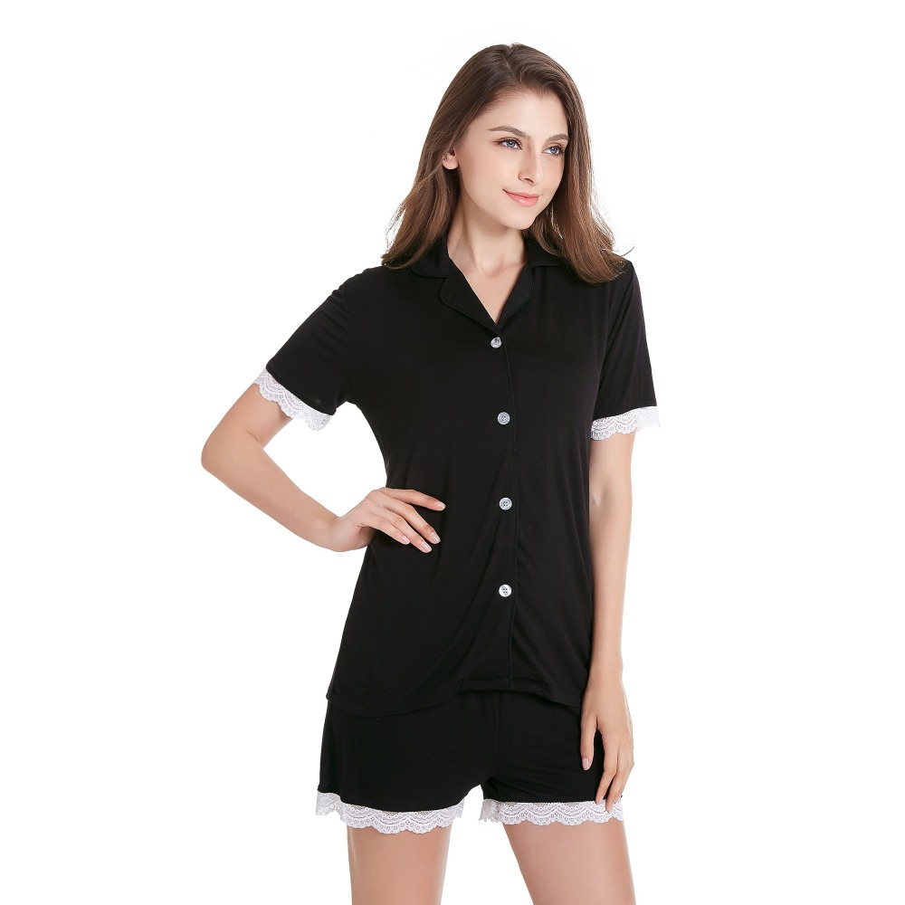 Women\'S Short Sleeve Pajama Set Knit Sleepwear With Shorts Button Down Nightwear With Lace