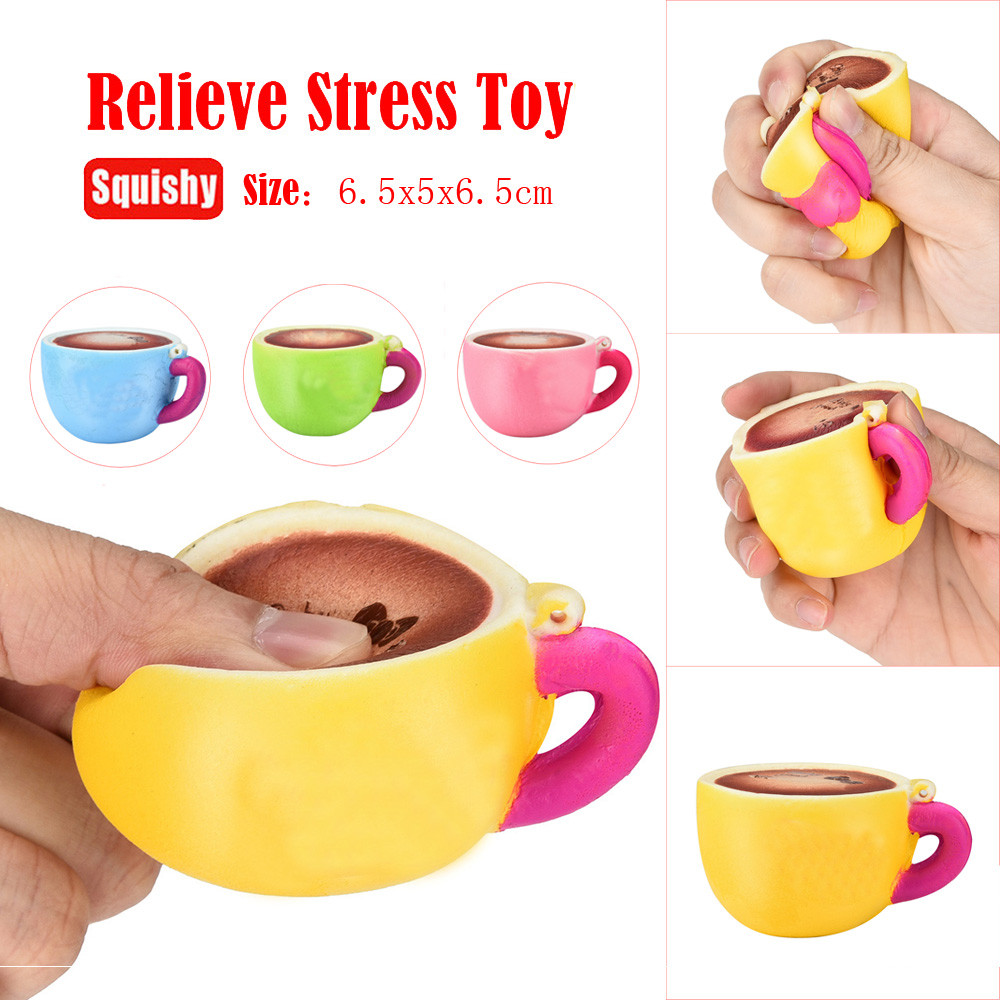 Kawaii Cute Coffee Cup Squishy Slow Rising Cream Scented Stress Reliever Toy Fun Kids Kawaii Kids Adult Toy Stress Reliever