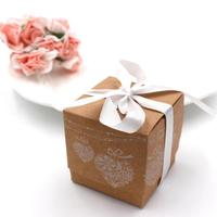 100pcs/lot Wedding Favors Decor Kraft Paper Lace DIY Candy Box Gift Boxes Wedding Party Candy Box with Ribbon