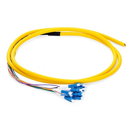 QIALAN 1 5m 5ft 12 Fibers LC UPC 0 9mm PVC Jacket 9 125 Single Mode Bunch Fiber Optic Pigtail in Fiber Optic Equipments from Cellphones Telecommunications