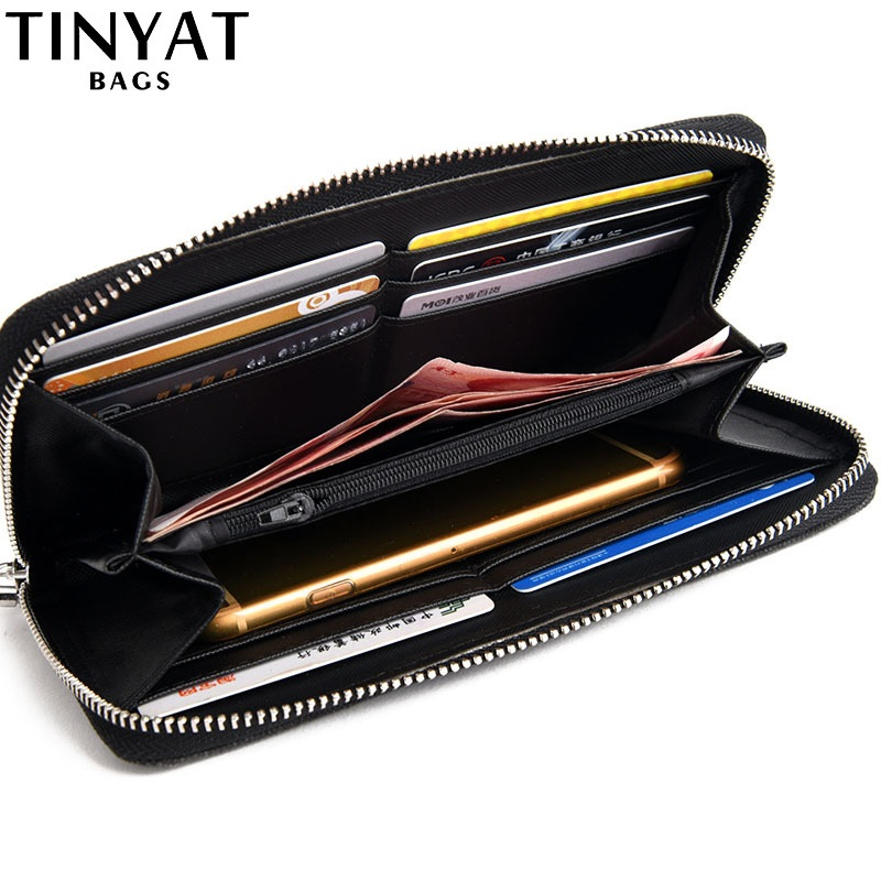 TINYAT Men male Long Wallet Casual Money Purse For Man Coin Card Pockets Zipper Phone Bag Women Clutch Carteira Masculina Gift