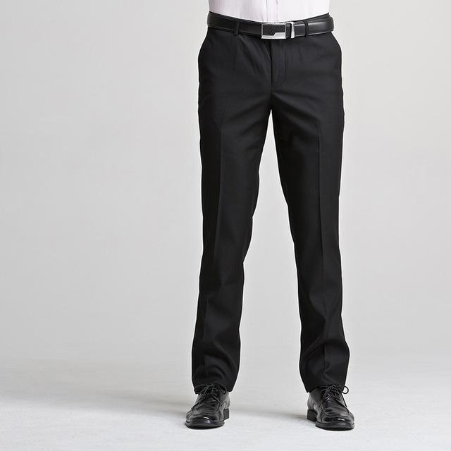 2016 Nuevo Diseño Para Hombre Classic Straight Formal Oficina de Negocios Traje Pantalones Pantalones de Fácil Cuidado Regular Fit Vestido de Novia Caliente