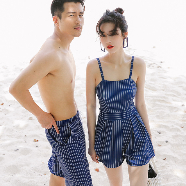 09fafb929ec49 Swimming Suit for Women Swimwear One Piece Swimsuit Blue Striped Couple  Family Matching Swimsuit Brother Sister