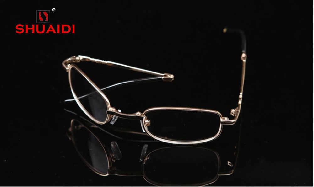 2019 настоящий Новый = Shuai Di никелево-медная оправа Очки для чтения ультра-светильник портативные складные очки с полным ободом + 0,5 + 0,75 + 1 до + 6