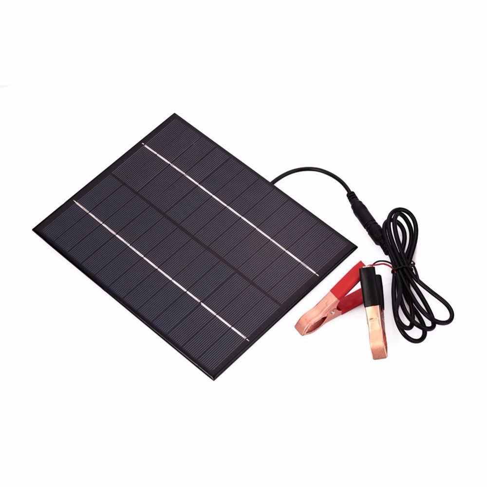 Cewaal Portable 12V 5.5W Solar Panel Power Bank DIY Solar Charger External Battery for Car W/Crocodile Clips