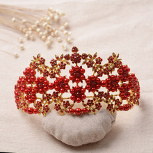 Free Shipping Gold Bottom Red Crystals Pearls Crowns Tiaras Chic accesorios para el pelo Bridal Hair Accessories 15.5*7.8cm