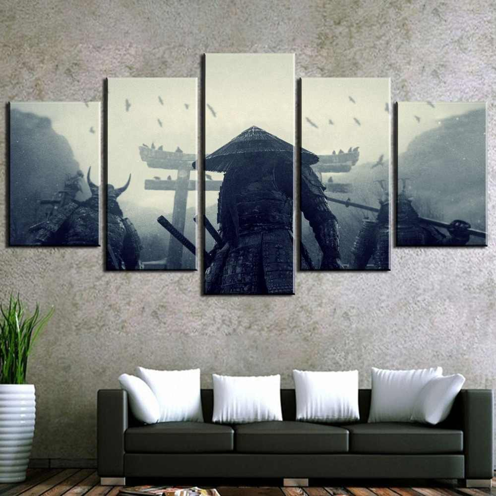 5 Pieces Retro photo Samurai Painting Painting Canvas Wall Art Picture Home Decoration Living Room Canvas Painting Wall Decor