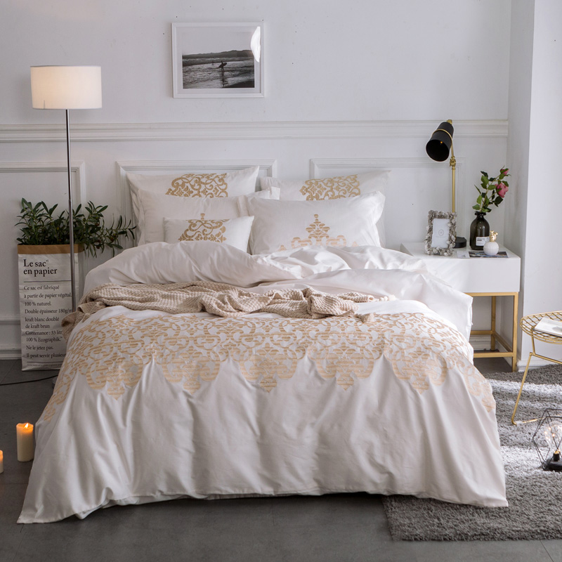 Pink White font b Cute b font Embroidery Bedding set Queen King size 100 Egyptian Cotton