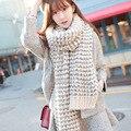 Искусственной шерсти зимний шарф женщины полосатый пушистый трикотажные кашемир длинные шарфы пашмины, платки echarpe femme hiver, bufandas mujer
