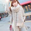 faux wool winter scarf women striped fluffy knitted cashmere scarves long pashmina,foulard echarpe hiver femme,bufandas mujer