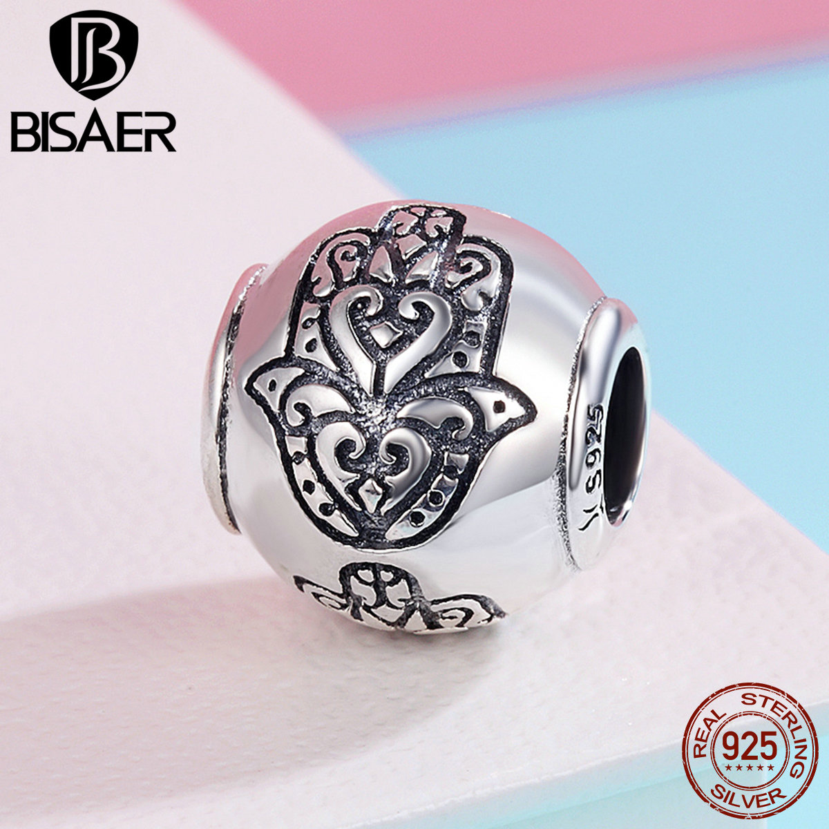 Jewelry & Accessories Bisaer Hot Sale 925 Sterling Silver Beads Fatima Hamsa Hand Charm Beads Fit Original Pan Charm Bracelet Diy Jewelry Gxc306 Numerous In Variety