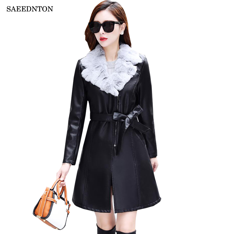 2019 Brand Fur Collar Women Long   Leather   Jacket Coat Female Winter Long Sleeve   Suede   Fur Jacket Women Bomber Motorcycle Jacket