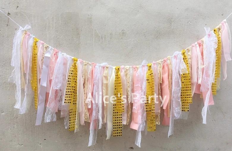 Girls highchair banner Pink Lavender Mint party decorations Banner Rag Garland Baby shower Shabby chic bridal shower