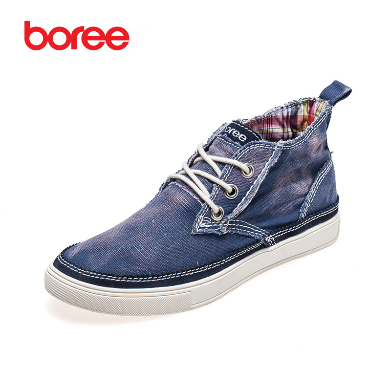 ФОТО Boree Summer Men's Shoes Fashion High-Top Casual Shoes Soft Canvas Solid Classics Lace-Up Decor Flat Soled Lazy Shoes SDL0052